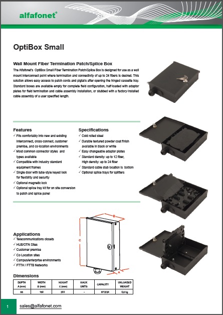OptiBox Small Wall Mount Fiber Termination Patch/Splice Box