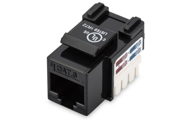 CAT 6 Keystone Jack, unshielded RJ45 to LSA, color black